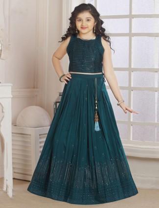 Green georgette lehenga choli for wedding days