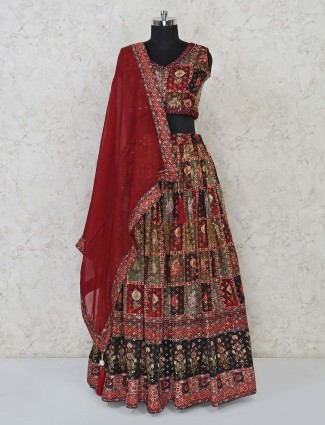 Maroon cotton lehenga choli for wedding function