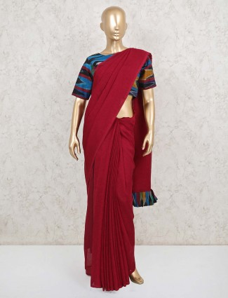 Maroon cotton linen party wear ready made blouse saree
