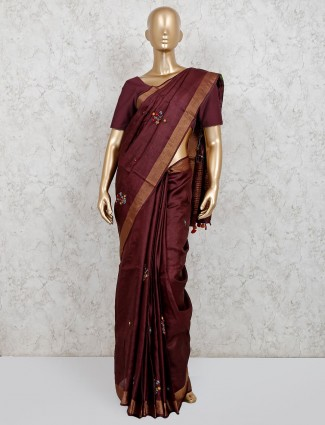 Maroon cotton linen party wear saree