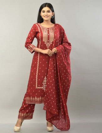 Maroon cotton printed palazzo suit