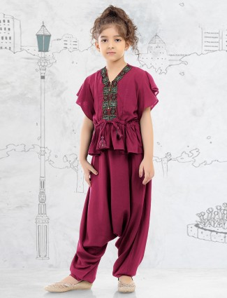 Maroon cotton silk girls dhoti suit