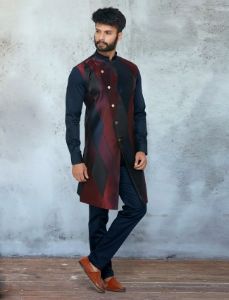 Maroon cotton silk kurta with chudidar