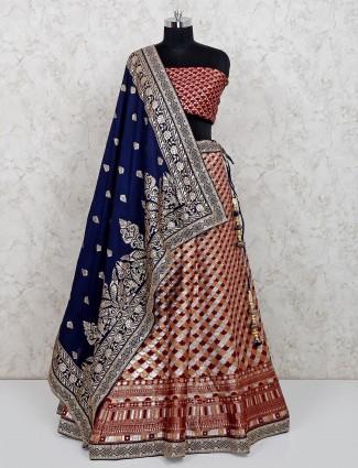 Maroon cotton silk unstitched wedding lehenga for women