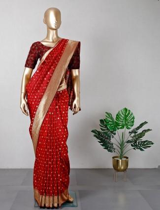 Maroon cotton silk wedding wear saree