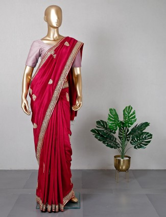 Maroon desginer silk saree