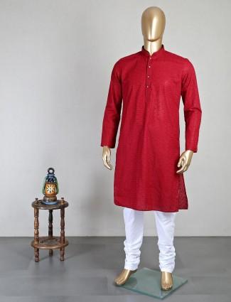 Maroon festive kurta suit in georgette