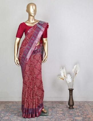 Maroon festive occasions cotton saree