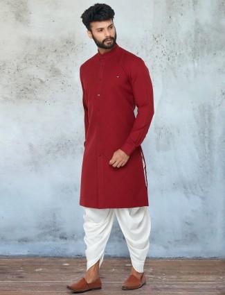 Maroon festive wear dhoti suit for mens