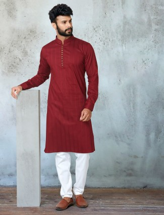 Maroon full sleeves kurta suit for festive