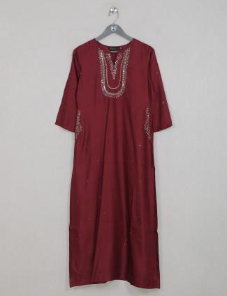 Maroon gallant casual wear kurti in cotton silk