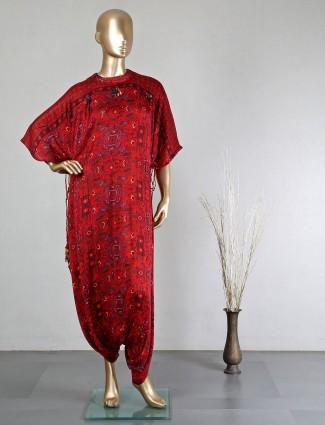 Maroon georgette festive wear doti style salwar suit