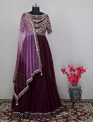 Maroon georgette wedding wear gorgeous anarkali suit