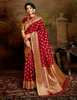 Maroon handloom banarasi silk saree for wedding days