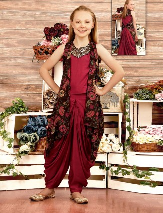 Maroon hue jacket style dhoti suit in cotton silk