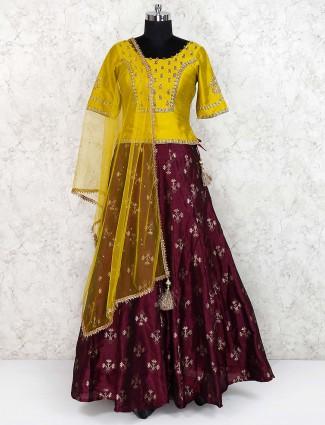 Maroon hue lovely cotton silk lehenga choli