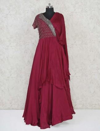 Maroon indowestern designer salwar suit in satin