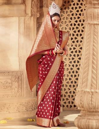 Maroon latest designer wedding functions saree for women