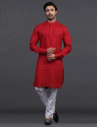 Maroon linen festive occasion kurta suit