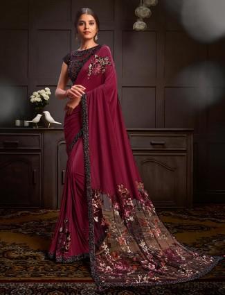 Maroon lycra saree design for party