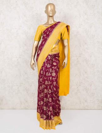 Maroon muga silk wedding saree
