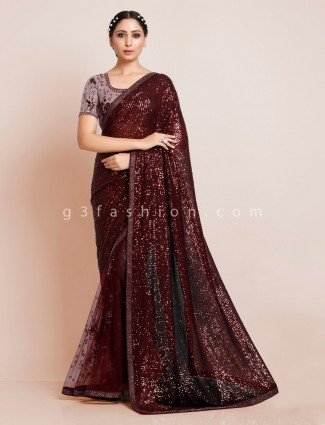 Maroon net party function saree
