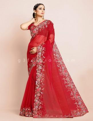Maroon net wedding wear designer saree