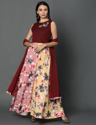 maroon-pink anarkali style salwar kameez for festives