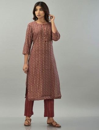 Maroon printed cotton pant suit for festive occasions