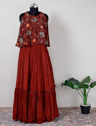 Maroon printed silk gorgeous festive wear lehenga style suit