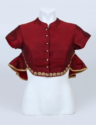 Maroon raw silk bandhgala blouse