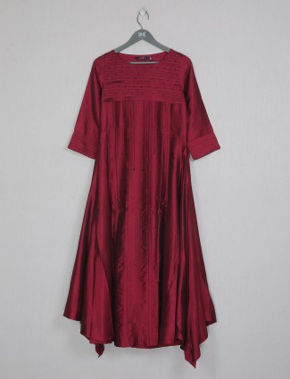 Maroon raw silk cotton kurti for casual day outing