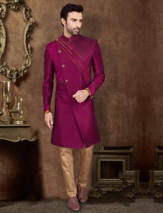 Maroon raw silk layer style indo western