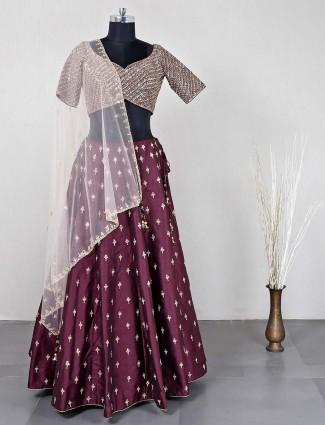 Maroon raw silk lehenga choli for wedding