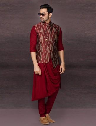 Maroon raw silk mens ino western waistcoat set