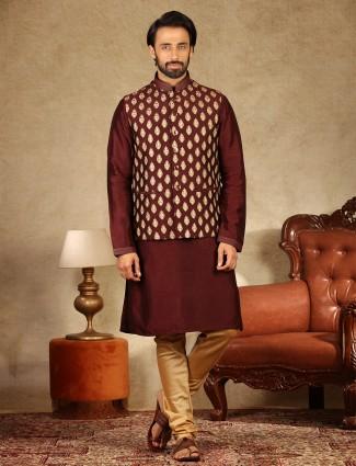 Maroon raw silk mens waistcoat set for wedding