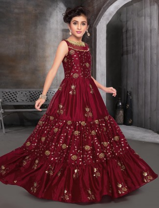 Maroon raw silk party events gown