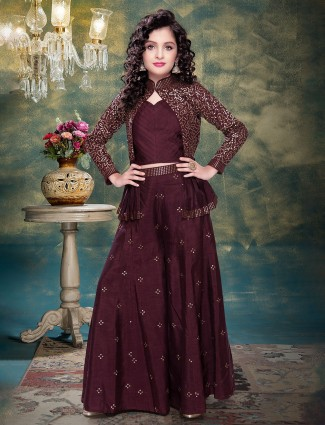 Maroon raw silk party wear palazzo suit