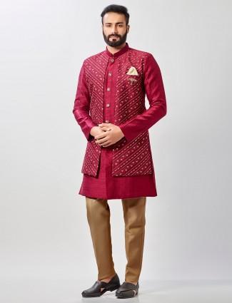 Maroon raw silk semi indo western