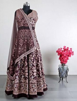 Maroon raw silk wedding salwar suit