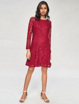 Maroon Self Design Lace Fit & Flare Dress