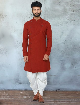 Maroon shade cotton dhoti suit for mens