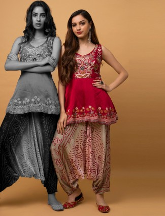 Maroon silk festive occasions printed dhoti suit