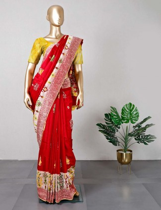 Maroon silk festive wear saree for women