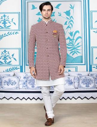 Maroon silk indo western with churidar