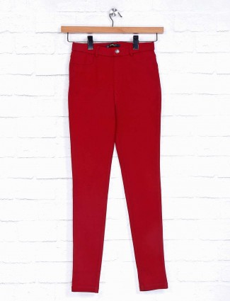 Maroon solid casual cotton jeggings