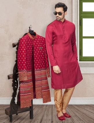 Maroon terry rayon fabric wedding wear indo western