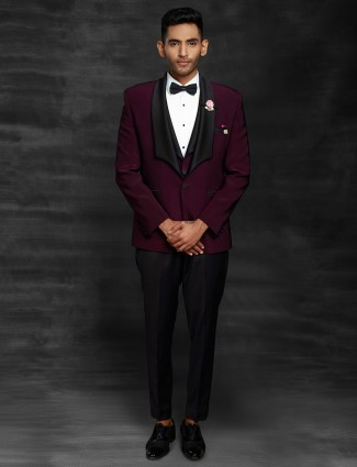 Maroon terry rayon solid mens coat suit