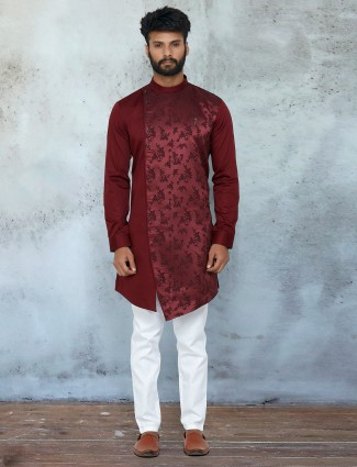 Maroon thread inflated kurta set for mens