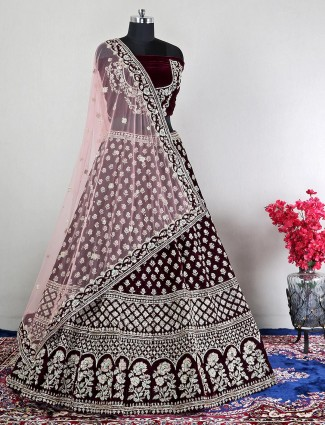 Maroon velevt unstitched bridal wear lehenga choli